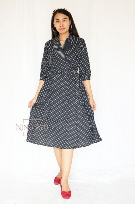 NING AYU Poppy Midi Dress Casual Korean Style Polkadots - NADR 08