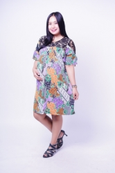 Baju Hamil Dress Batik Menyusui Kombinasi Brukat Chrysant Dress   BTK 162  6  large