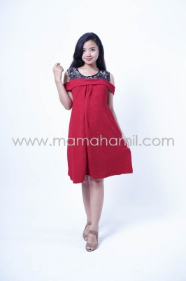 Baju Hamil Dress Hamil Menyusui Salur Motif Cantik Theresha Dress - DRO 863