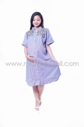 Baju Hamil Dress Kotak Bordir Bunga Full Kancing   Biru   DRO 835 9  large