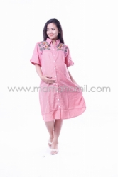 Baju Hamil Dress Kotak Bordir Bunga Full Kancing   Pink  DRO 835 13  large