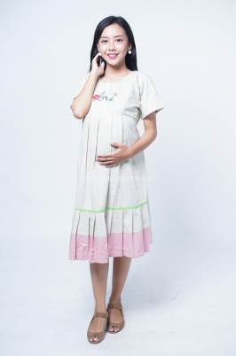 Mama Hamil Dress Ibu Hamil Menyusui Bordir Love 2 Tone Layer Trestasya Dress - DRO 968