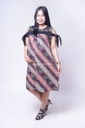 Dress Batik Hamil Menyusui Sabrina Brokat Pita   BTK 151 2  large