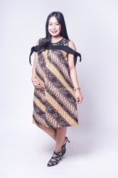 Dress Batik Hamil Menyusui Sabrina Brokat Pita   BTK 151 6  large