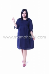 Dress Hamil JUMBO Smoke Dress Kerut Pita Cantik   DRO 852 17  large