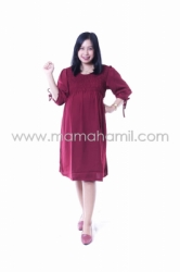 Dress Hamil JUMBO Smoke Dress Kerut Pita Cantik   DRO 852 5  large
