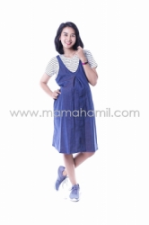 Dress Hamil Menyusui Cindy Dress Overall Stripped Modis   HO 70 15  large