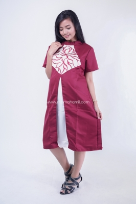 Dress Hamil Menyusui Kerah Sanghai Bordir Pamela Dress - DRO 911  Merah