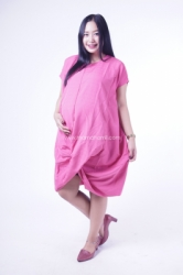 Dress Ibu Hamil Menyusui JUMBO Kaftan SIlang Kaftania Dress   DRO 930 Pink 2  large