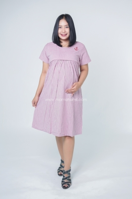 Dress Ibu Hamil Menyusui Lipit Tengah Pita Kancing Tania Dress - DRO 962