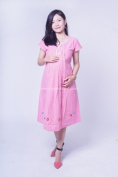 Dress Ibu Hamil Midi Bordir Tali Pita Cantik Nabilah Dress   DRO 960 1  large