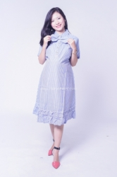 Dress Kerja Hamil Menyusui Polo Ribbon Salur Aileen Dress    DRO 958 1  large