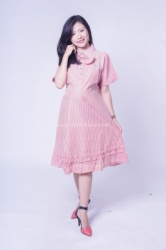 Dress Kerja Hamil Menyusui Polo Ribbon Salur Aileen Dress    DRO 958 5  large