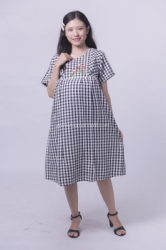 MAMA HAMIL DRESS CASUAL KOTAK BORDIR BUSUI FRIENDLY WENNIE DRESS   DRO 971 1  large