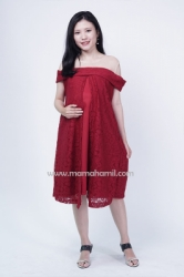 Mama Hamil   Theresia Dress Hamil Pesta Full Brukat Busui Friendly Sabrina   DRO 985 5  large