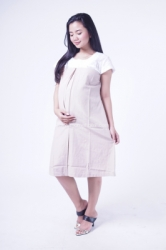 Mama Hamil Dress Hamil Brukat Putih Lipit Tengah Evelyn Dress   DRO 196 2  large