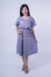Mama Hamil Dress Wanita Hamil Menyusui Casual Line A Layer Bunga Dada Laura Dress   DRO 979  5  large
