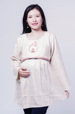 Evelyna Casual Long Blouse Hamil Menyusui Owl Border Ribbon - SJ 389