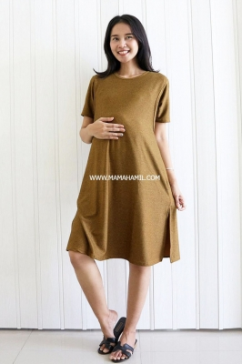 Dress Hamil dan Menyusui Luna Simple Dress - DRO 1004 Coklat