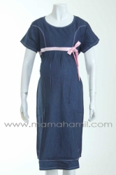 dress hamil katun jeans warna pita pink  DRO 446 2  large