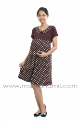dress menyusui krah polkadot coklat  DRO 656 1  large