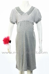 dress menyusui salur krah renda abu muda  DRO 569 1  large