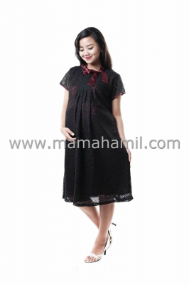 Dress Hamil Pesta Brokat Sabrina Satin Maroon