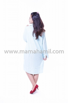 Baju Hamil Modis Dress Belle Rossy Katun Full Kancing - BLJ 399 Biru
