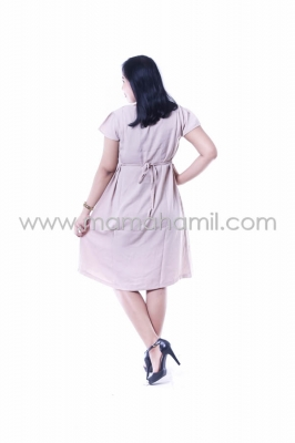 Baju Hamil Dress Hamil Feny Dress Pesta Modis Simpel Rose DRO 749 Cream