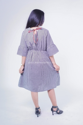 Dress Ibu Hamil Menyusui Katun Salur Pita Tiga Naura Dress - DRO 933