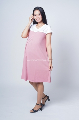 Baju Hamil Dress Hamil Menyusui White Broklat Tasya Dress - DRO 868