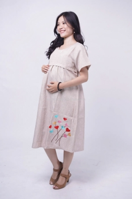 MAMA HAMIL Dress Ibu Hamil Menyusui Casual Bordir Balon -DRO 972