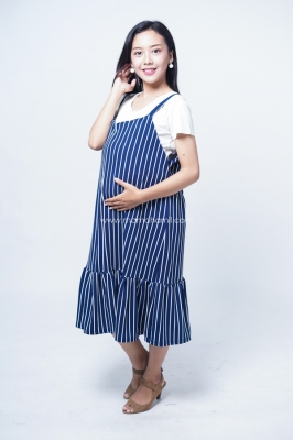 Mama Hamil Dress Ibu Hamil Menyusui Overall Salur Anelies Dress - HO 78