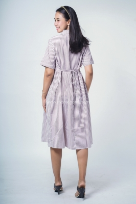 Mama Hamil Dress Hamil Menyusui Katun Salur Cantik Amanda Dress - DRO 974