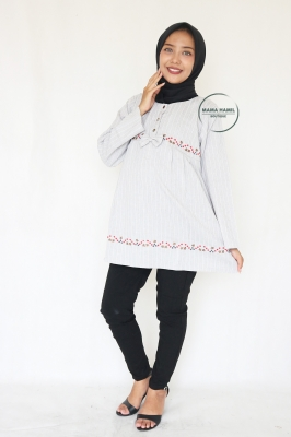 Davina Casual Long Blouse Bordir Bunga Ribbon Cantik - BLJ 459