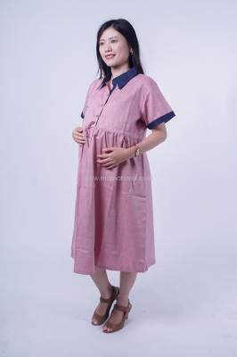 Mama Hamil Dress Ibu Hamil Casual Tartan Bordir Rose Laura Dress - DRO 979