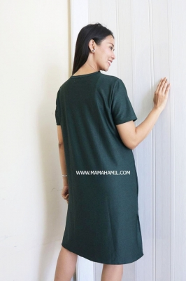 Dress Hamil dan Menyusui Luna Simple Dress - DRO 1004 Hijau