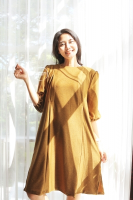Dress Baju Hamil Menyusui Polos Simple Modis Lyodra - DRO 1010 Kuning