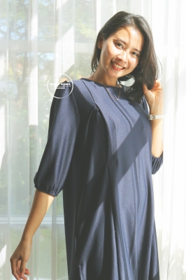 Dress Baju Hamil Menyusui Polos Simple Modis Lyodra - DRO 1010 Biru