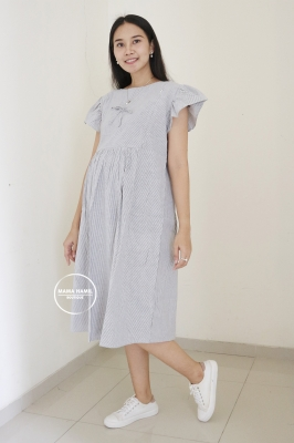 Dress Hamil Menyusui Stripe Garis Simple - DRO 1002 Abu