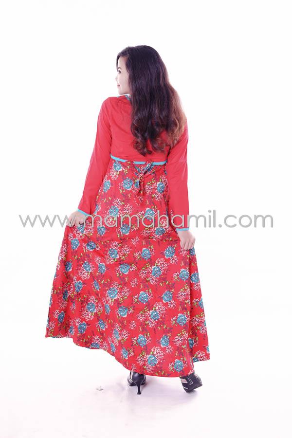 Baju hamil muslim gamis bunga katun dada silang merah Baju gamis yg lg ngetren