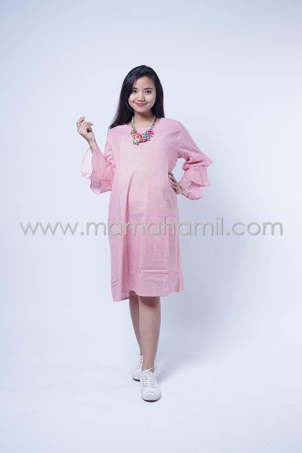 Baju Hamil Dress Hamil Kotak Layer Nagita Dress Dro 851
