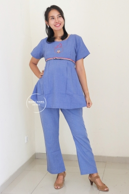 Setelan Baju Ibu Hamil Menyusui Bear Set - STD 112 Biru