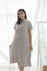 MAMA HAMIL Angie Midi Dress Baju Non Hamil Wanita Button Stripped Korean Style Simple Formal Casual Outfit Modis   NADR 12 9  large
