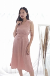 MAMA HAMIL BUTIK Kimmy Midi Dress Baju Modis Wanita Murah Polos Simple Outfit Pesta   NADR 10 19  large