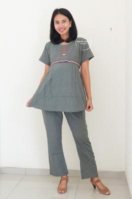 Setelan Baju Ibu Hamil Menyusui Bear Set - STD 112 Hijau Army