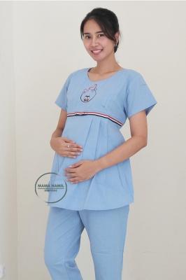 Setelan Baju Ibu Hamil Menyusui Bear Set - STD 112 Biru Muda