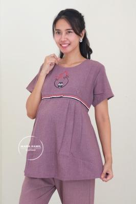 Setelan Baju Ibu Hamil Menyusui Bear Set - STD 112 Ungu