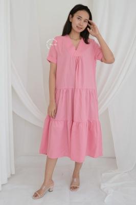 Baju Hamil Menyusui Ruffle Modis Meghan Dress - DRO 1003 Pink