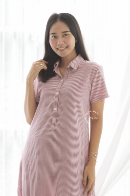 Angie Midi Dress Basic Striped Motif - NADR 12 Pink